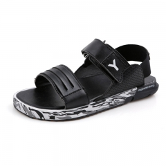 Summer sandals adolescent male slipper student leisure beach shoe leather sandals antiskid Black 35