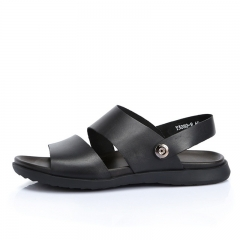 2016 New Head layer Cowhide Beach Slippers Leisure Comfortable Couch Leather Sandals for men Black 38