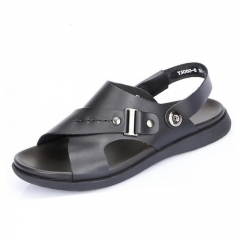 Men sandals leather layer cowhide non-slip high-grade commercial office pure slippers beach shoes Black 38
