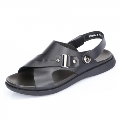 2016 summer cool new men's leather sandals, slippers breathable leisure beach shoes Black 38