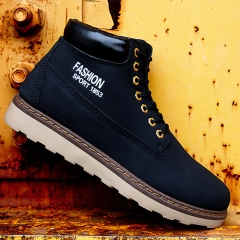 Winter the new men's shoes and cloth with soft nap of England Martin boots male leisure trend Black 39
