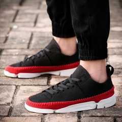 2016 Men's Single Shoes Men Casual Shoes Sandals Fashion Shoes in Europe Personality Shoes Black-Red 39