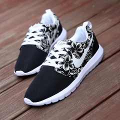 Leisure Couple Net Cloth Shoes Breathable Sports Shoes Fashion Sneakers Shoes For Men and Women Black 36