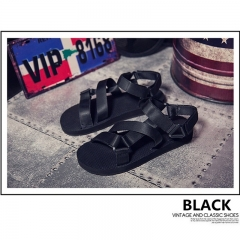 Sandals trend light summer breathable tide men casual shoes cool slippers shoes of Rome Black 39