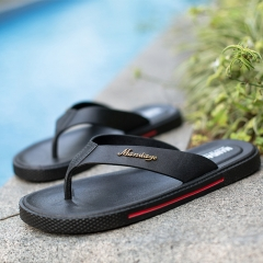 New summer flip-flops cool men slippers antiskid pinches beach slippers leather leisure flat sandals Black 40