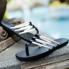 2016 summer flip-flops men slippers rubber non-slip feet fashionable leisure beach sandals Black 38