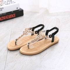 Summer women sandals Fashion rhinestone comfortable flats flip gladiator sandals party wedding shoes Black 36