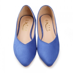 Pointed suede modern flat with single women's shoes with flat shoes on sale shoes with flat sole Blue 35