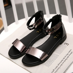 Europe and the United States ms students flat sandals peep-toe shoes big yards flat in 2016 Rose Gold 35