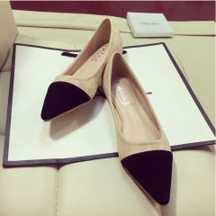 Flat shoes pointed shoes contracted suede color matching lighter shoes fashion sandals Black 35