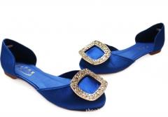 New Style Diamond Flat Shoes Women's Flat Shoes Satin Surface Flat Sedding Shoes Blue 34