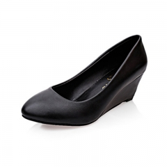 Spring/Summer Professional Women's Shoes Round Head Wedges Comfortable Heels Black 35