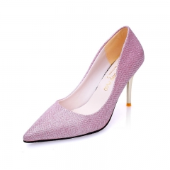 Professional Women High Heels Pure Color Shoes Pointed Shoes Lighter Imitation Leather Shoes Pink 34