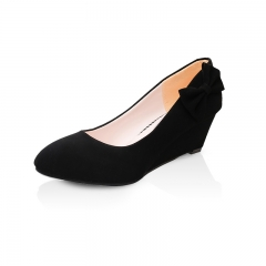 Spring/Summer round head suede Heels Bowknot slope shoes middle-aged mother leisure Heels Black 35