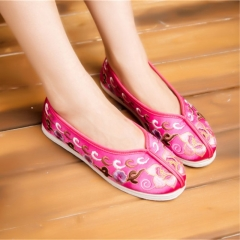 Old Beijing cotton cloth shoes Keeping in good health breathable Computer embroidery casual shoes Peach 35