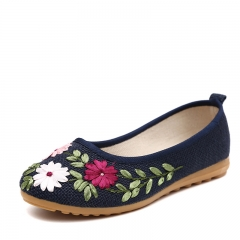Flax ribbon embroidery goosegrass bottom loafers Chinese style restoring ancient ways cloth shoes Black 34