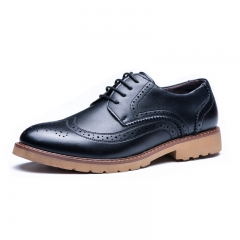 Fine business casual men's shoes with fashion men's shoes wedding shoes men's leather shoes Black 37