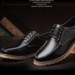 Men's Leather shoes Rubber Soles Wear Casual Shoes Non-skid Shoes Fashional Durable Shoes Black 38
