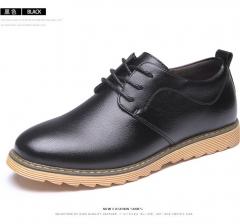 Men's Casual Shoes Texture Tide Shoes Formal Occasions Shoes Pure Color Lace-up Shoes Black 36