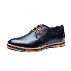 Men's Casual Formal Shoes Durable Popular Shoes Men's Comfortable Leather Shoes Black 37