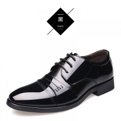 Men's casual shoes formal shoes durable shoes popular and comfortable Men's bright leather shoes Black 37