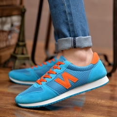 Casual shoes sport running shoes men breathable mesh cloth shoes students lace-up shoes blue 39