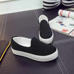 Casual shoes at the bottom of the thick canvas shoes lady heighten students single shoes black 35