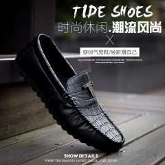 Air permeability of leather shoes, men casual shoes sandals England style fashion shoes black 39