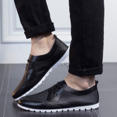 Men's Summer Sneakers Fashion Casual Shoes Breathable Leather Shoes black 39