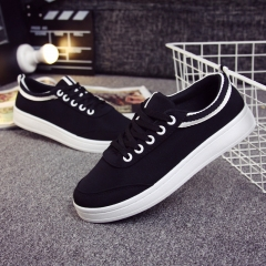 Flat shoes lace-up shoes casual shoes fashion female students shoes black 35