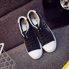 2016 lace-up shoes sneakers cowboy boots recreational canvas shoes female students black 35