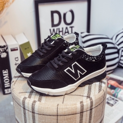 2016 female leisure sports shoes platform running sneakers students fashion shoes black 36
