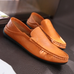 2016 male shoes PU leather shoes man lazy loafers driving soft bottom shoes orange 39