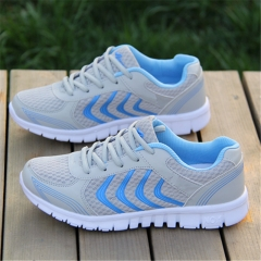 Net Surface Couples Running Shoes Breathable Lace-Up Sneaker Light Fitness Shoes sneaker Gray 36