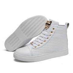 Waterproof Leather Shoes Men's Lace Up sneakers Youth Street Dancing Shoes for Men white 39