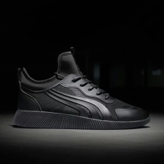 Men's fashion sport shoes lace up casual sneakers black 39