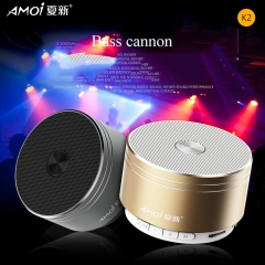 Amoi-K2 Bluetooth Speaker Bass  Mini Portable With Subwoofer And TF Card gold one size