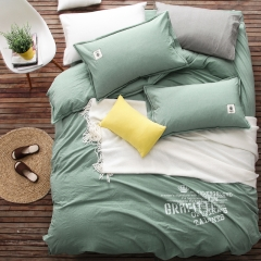 Four Piece Style of Japanese Korean simple bedding washing cotton of personality cover set green 6*6