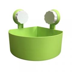 Plastic Suction Cup Bathroom Kitchen Corner Storage Rack Organizer Shower Shelf -Green GREEN 15*15*7.5cm