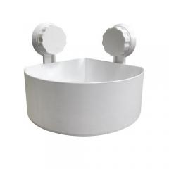 Plastic Suction Cup Bathroom Kitchen Corner Storage Rack Organizer Shower Shelf -White WHITE 15*15*7.5cm
