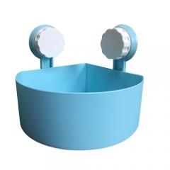 Plastic Suction Cup Bathroom Kitchen Corner Storage Rack Organizer Shower Shelf -Blue BLUE 15*15*7.5cm