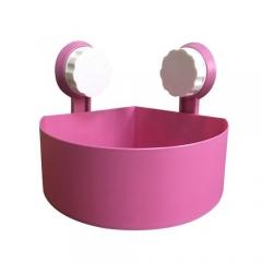 Plastic Suction Cup Bathroom Kitchen Corner Storage Rack Organizer Shower Shelf -Pink PINK 15*15*7.5cm