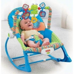 Infant to Toddler Baby Rocker with Musical Toy Bar & Vibrations– Blue MULTI COLOUR 45x8x30CM