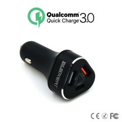 Fast Car Charger Adapter 3 Ports with Quick Charge 3.0, Universal QI Rapid USB Car Phone Charger black one size
