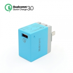DLG Quick Charge 3.0 USB 18W Wall Charger Mini Travel Charger adapter with Foldable Plug blue one size