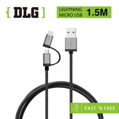 DLG 1.5M Android+lightning 2in1 Strong Material FAST Charging & Data Sync Cable black-150cm