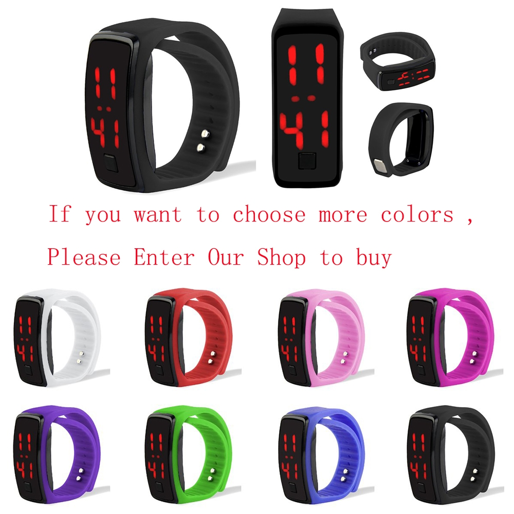 LED Digital Bracelet Watch Sport Silicone Strap Wristwatch for Men Women Children Gift Smart watch Pink 170mm-288mm 12