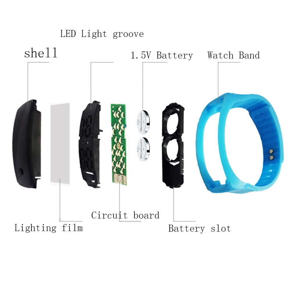LED Digital Bracelet Watch Sport Silicone Strap Wristwatch for Men Women Children Gift Smart watch Pink 170mm-288mm 17