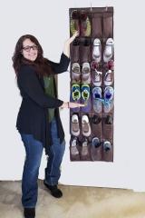 Door Hanging Extra Large 24 Grids Organiser For Shoe Multifunctional shoe storage bag Brown