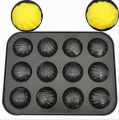 Non-Stick 12 Cups Shells Baking Tray Carbon Steel Muffin Baking Pan Cake Mold Tools Black Media